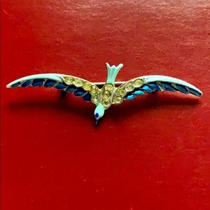 Vintage blu bird 12 stones metallic brooch